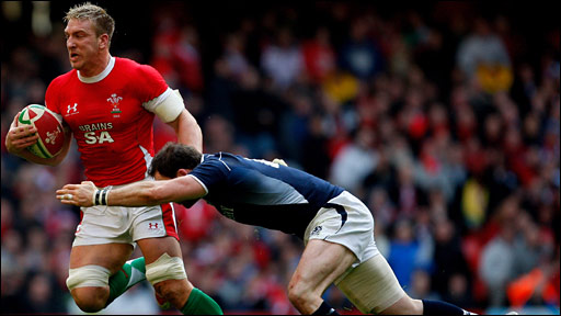 Andy Powell in action for Wales against Scotland