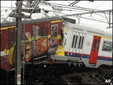 Wreckage of the two trains that collided in Halle, near Brussels, Belgium - 15 February 2010