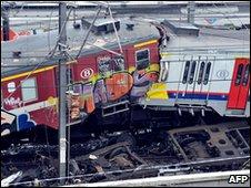 The scene of the crash in Halle, Belgium