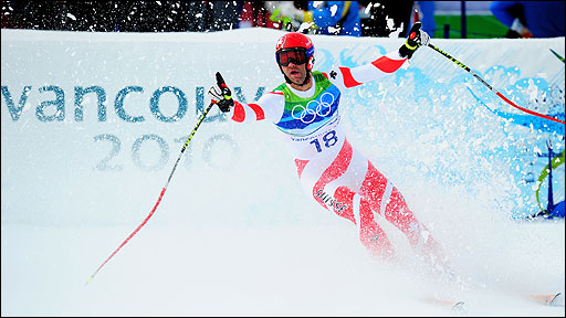 Didier Defago skis to victory at the 2010 Winter Olympics