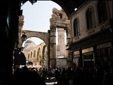 Roman columns in Damascus, Syria