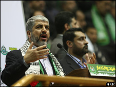 Khaled Meshaal addresses a rally in Syria 22 January 2010
