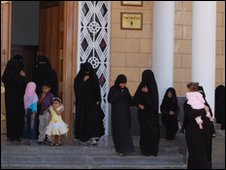 Saudi women leaving a mosque