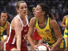 Australia's Madison Browne tries to get the ball away