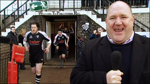 Scrum V's Rick O'Shea at Sardis Road for Pontypridd v Swansea