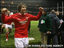 Gavin Henson celebrates beating England in 2008 - Wales' first win at Twickenham in 20 years
