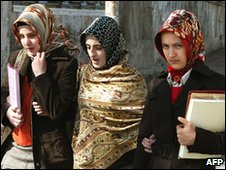Turkish women in headscarves