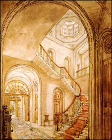 The Main staircase at Pell Wall Hall. Picture courtesy of Jackson Stops estate agents