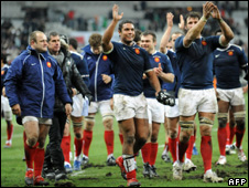 French players celebrate beating Ireland