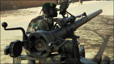 Niger soldier with gun