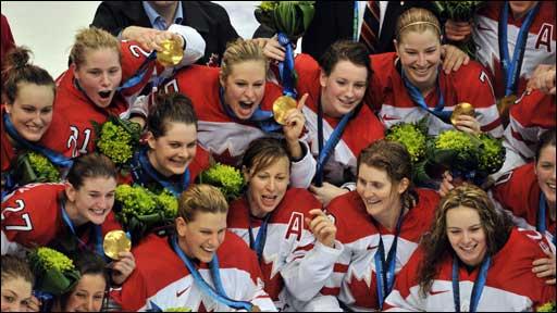 Canada celebrate winning ice hockey gold