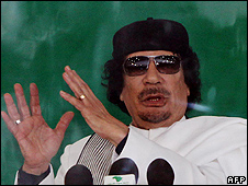 Col Muammar Gaddafi speaking in Benghazi, 25 Feb 10