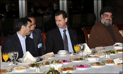 From left: Mahmoud Ahmadinejad, an interpreter, Bashar al-Assad and Hassan Nasrallah (25 February 2010)