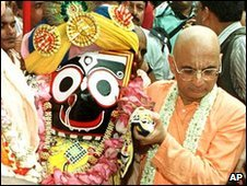 The icon of Lord Jagannath being carried to the holy chariot