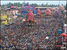 Devotees at the Lord Jagannath temple during celebrations in Puri