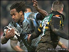 Former Australia wing Lote Tuqiri was well held by the Saints defence