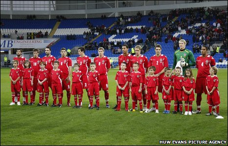 Wales line up for their friendly with Scotland