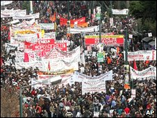 Protest in Athens against government austerity measures in February 2010