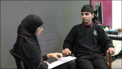 Student interviews fellow student Aquib from Nab Wood School
