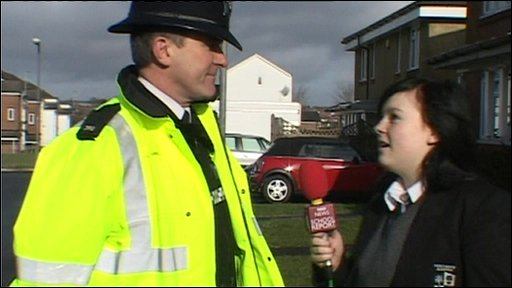Student from Merchants Academy Bristol interviews policeman