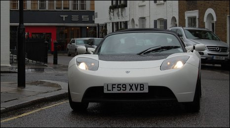 Tesla Roadster in Knightsbridge, London