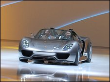 Porsche 918 spyder plug-in petrol-electric hybrid concept car being unveiled at a Volkswagen Group event at the Geneva motor show