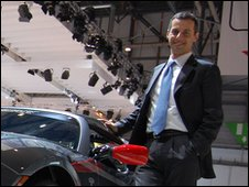 Cristiano Carlutti, Tesla Motors, with the Roadster at the Geneva motor show