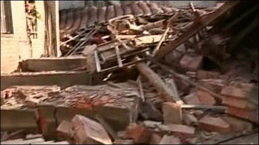 Collapsed buildings in Taiwan