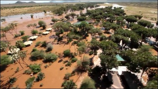 Flooded tourist accommodation in Kenya