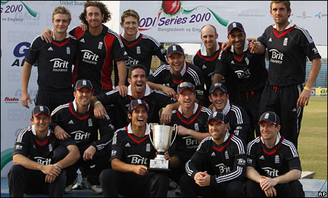 England's players celebrate with the one-day series trophy