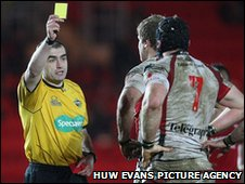 Ulster flanker David Pollock is sent to the sin bin