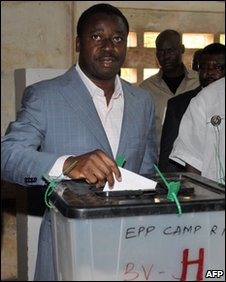 Faure Gnassingbe casts his ballot in Lome, 4 March