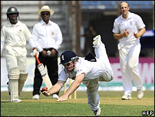Ian Bell takes a superb catch off the bowling of James Tredwell to dismss Shamsur Rahman