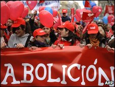 View of the anti-abortion rally in Madrid on 7 March