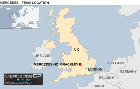 Map showing UK location of Mercedes