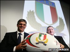 Italian rugby coach Nick Mallett and president of the Italian rugby Giancarlo Dondi