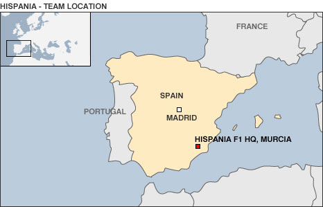 Location map for Hispania Racing