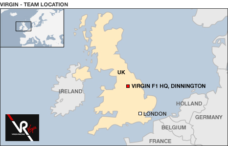 Location map for Virgin Racing