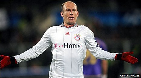 Arjen Robben celebrates scoring in Florence