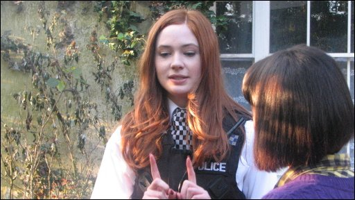 Karen Gillan and Newsround's Leah