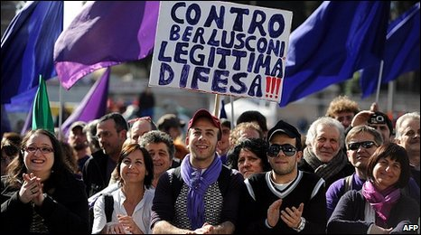 """Purple People"" during a march in Rome, 27 February 2010"