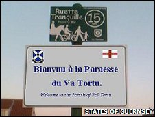 Guernsey French welcome sign