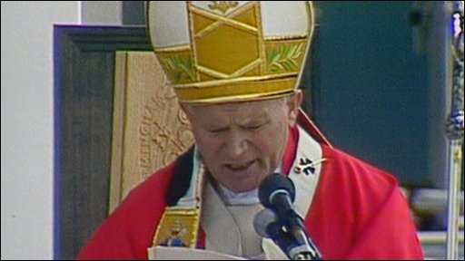 Pope John Paul II at Coventry airport