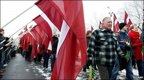 Latvian Legion veterans march in Riga, 16 March 2010