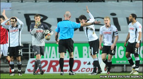 penalty spot leaving Swansea players furious