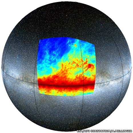 The location of the region of sky mapped by Planck (Esa)