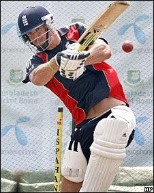 Kevin Pietersen in action in the nets