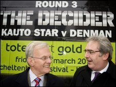 Kauto Star owner Clive Smith (left) and Denman part-owner Harry Findlay share a joke at the Cheltenham Festival