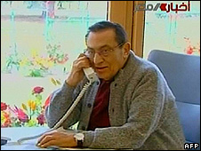 Mubarak (image braodcast on 19 March 2010)