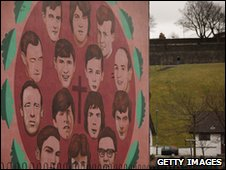 Some of the victims of the Bloody Sunday shootings are remembered on a mural in the Catholic Bogside area of Derry